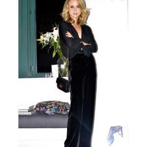 Ann Taylor black velvet high rise wide leg pants